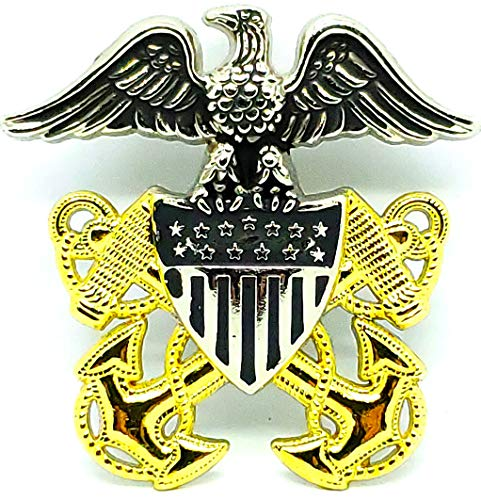 "DEURA US Navy Officer Cap Eagle Badge Insignia Gold // Silver 2-1/2"""