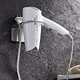 WINCASE 3M Self-Adhesive Stainless Steel Round Hair Blower Dryer Holder With Plug Stand Bathroom Countertop Storage Organizer Brushed