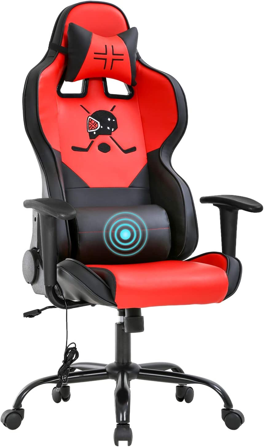 Gaming Chair Massage Office Chair Ergonomic Desk Chair with Lumbar Support Headrest Armrest Task Rolling Swivel PC E-Sports Racing Chair PU Leather Adjustable Computer Chair for Men(Red)