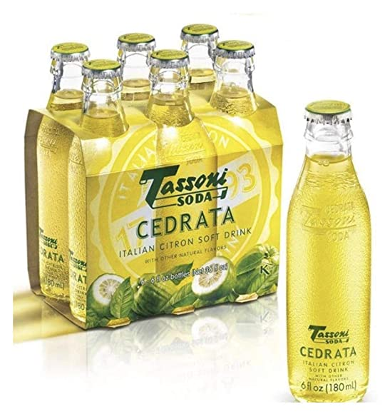Tassoni Cedrata Italian Citron Juice Soda Pack of 6 for 180ml – 6fl.oz NEW DESIGN Italian Import