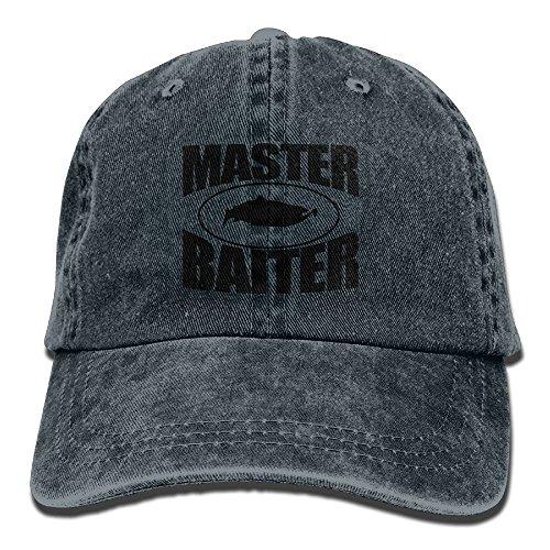 (FUNINDIY Fishing Master Baiter One Size Denim Baseball Cap Adjustable Dad Hat Unisex Sports Trucker Cap Peaked Cap For Men Women Adults)