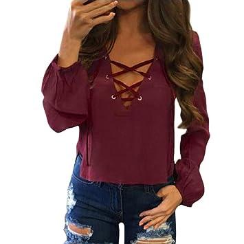 verschiedene Stile Rabattgutschein für die ganze Familie DOLDOA Damen Langarmshirt,FrauenV-Ausschnitt mit Schnürung Vorne Oberteil  Lange Ärmel Kurz Tops Bluse Shirt (EU:38, Rot)