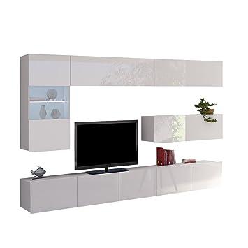 Moderne Wohnwand Calabrini IV, Anbauwand, Mediawand, TV Lowboard ...