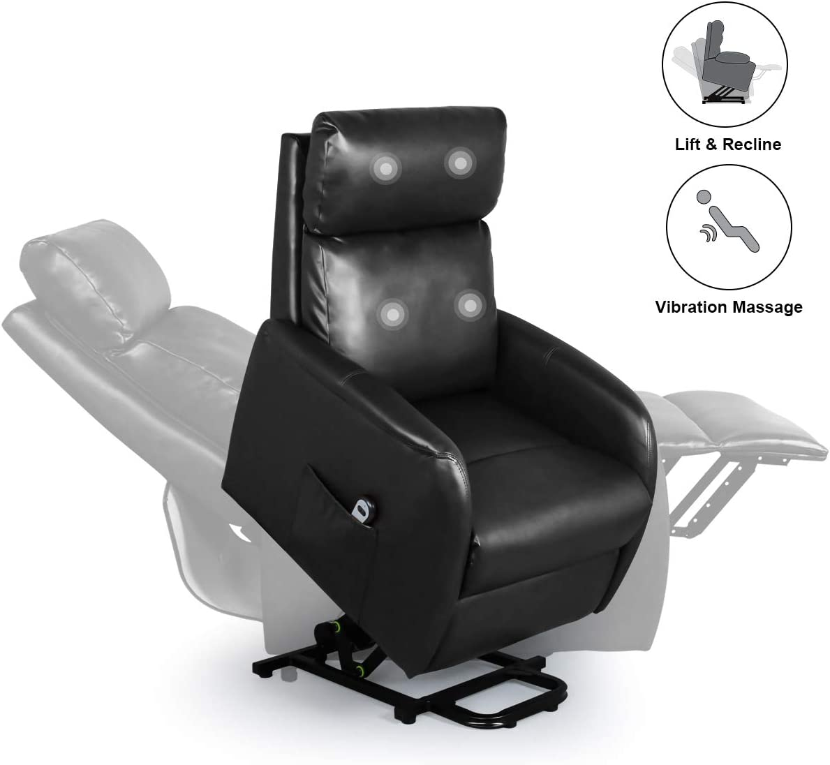 Home Power Modern Electric Lift Chair for Elderly, Faux Leather Massage Recliner with Remote, Leisure Lounge w Side Pocket, Living Room Office Chairs Black
