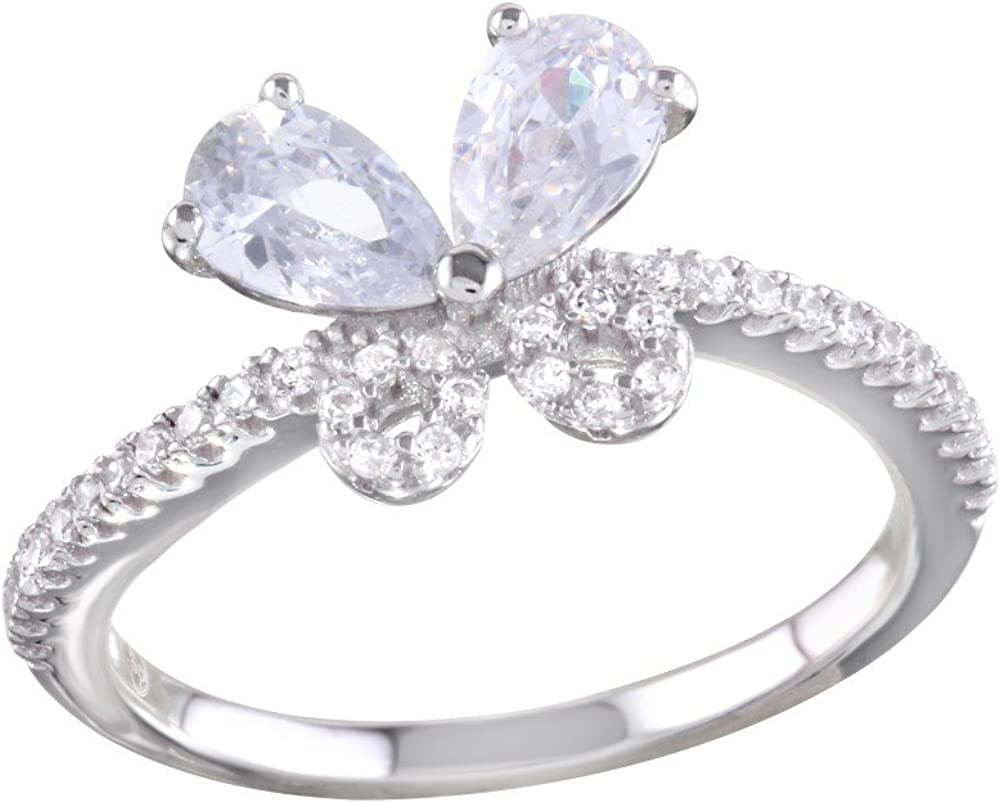 Princess Kylie Clear Cubic Zirconia Butterfly Shaped Ring Rhodium Plated Sterling Silver