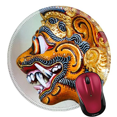 Liili Round Mouse Pad Natural Rubber Mousepad IMAGE ID: 29258547 Close up of a traditional Balinese God statue in Bali temple