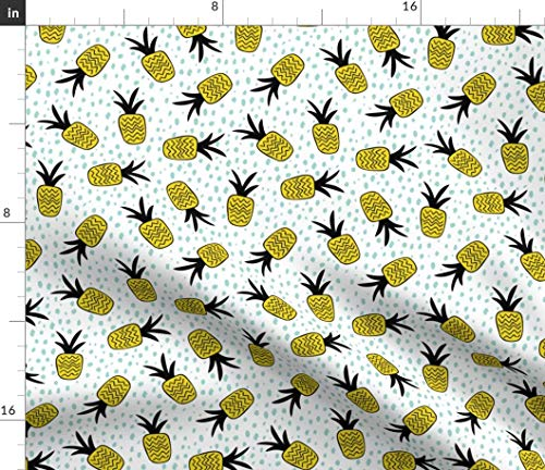 Pineapples Fabric - Summer Pineapple Memphis Dots Trend Surf Print on Fabric by The Yard - Sport Lycra for Swimwear Performance Leggings Apparel Fashion