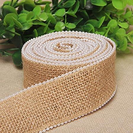 Vintage 60mm Wedding Burlap Pearl Edge Jute Natural Hessian Ribbon Rustic Roll