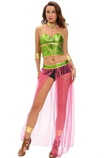 Nuevo Verde y rosa 6pcs esclavo princesa disfraz despedida de ...