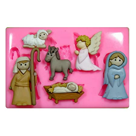school nativity scene christmas silicone mould mold for cake decorating cake cupcake toppers icing sugarcraft tool