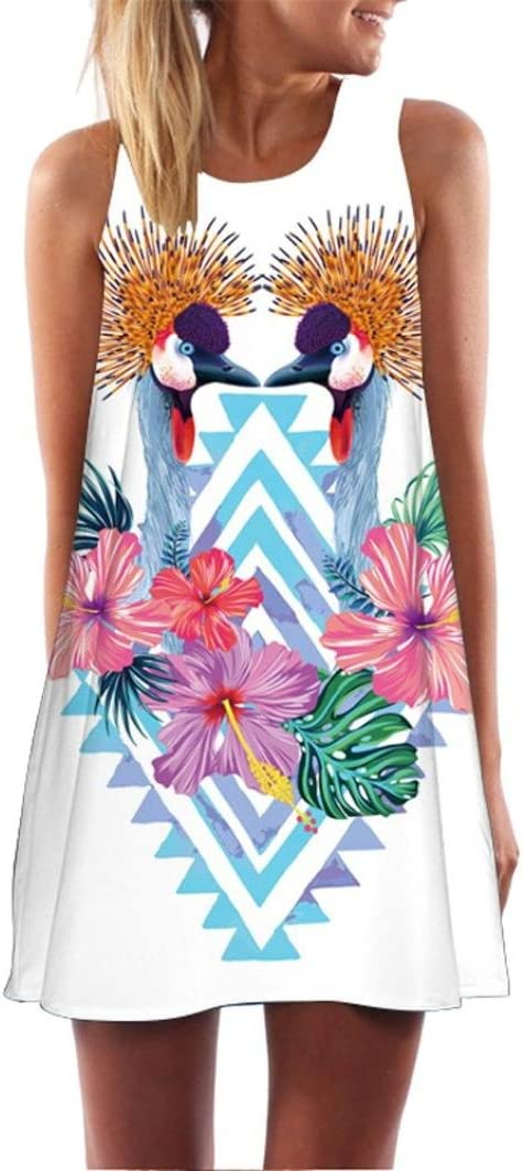 14, S Women Mini Dress,Boho Flower Printed Sundrss Beach A-line Skirt Clothes Axchongery