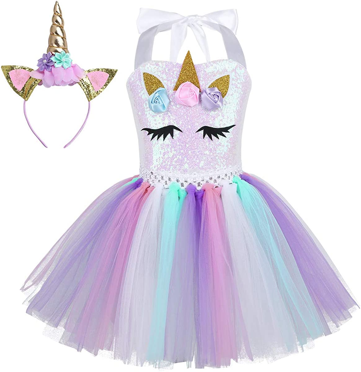 YiZYiF Vestido Tutú Disfraz Unicornio Niñas Vestido Fiesta Cumpleaños con Diadema Alas Ángel Arcoiris Traje Princesa Actuación Cumpleaños Fotografía 2-10 Años