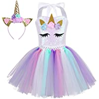 Alvivi Enfant Fille Justaucorps Tutu de Danse pour Anniversaire Fête Ballet avec Serre-tête Licorne Cosplay Costume Robe de Princesse 2-12 Ans