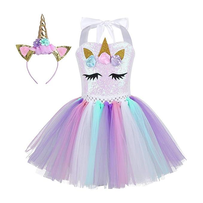 TiaoBug Vestido de Unicornio Niñas para Fiesta Cosplay Disfraz Tutú Falda Lentejuelas Princesa Cuello Cogido con