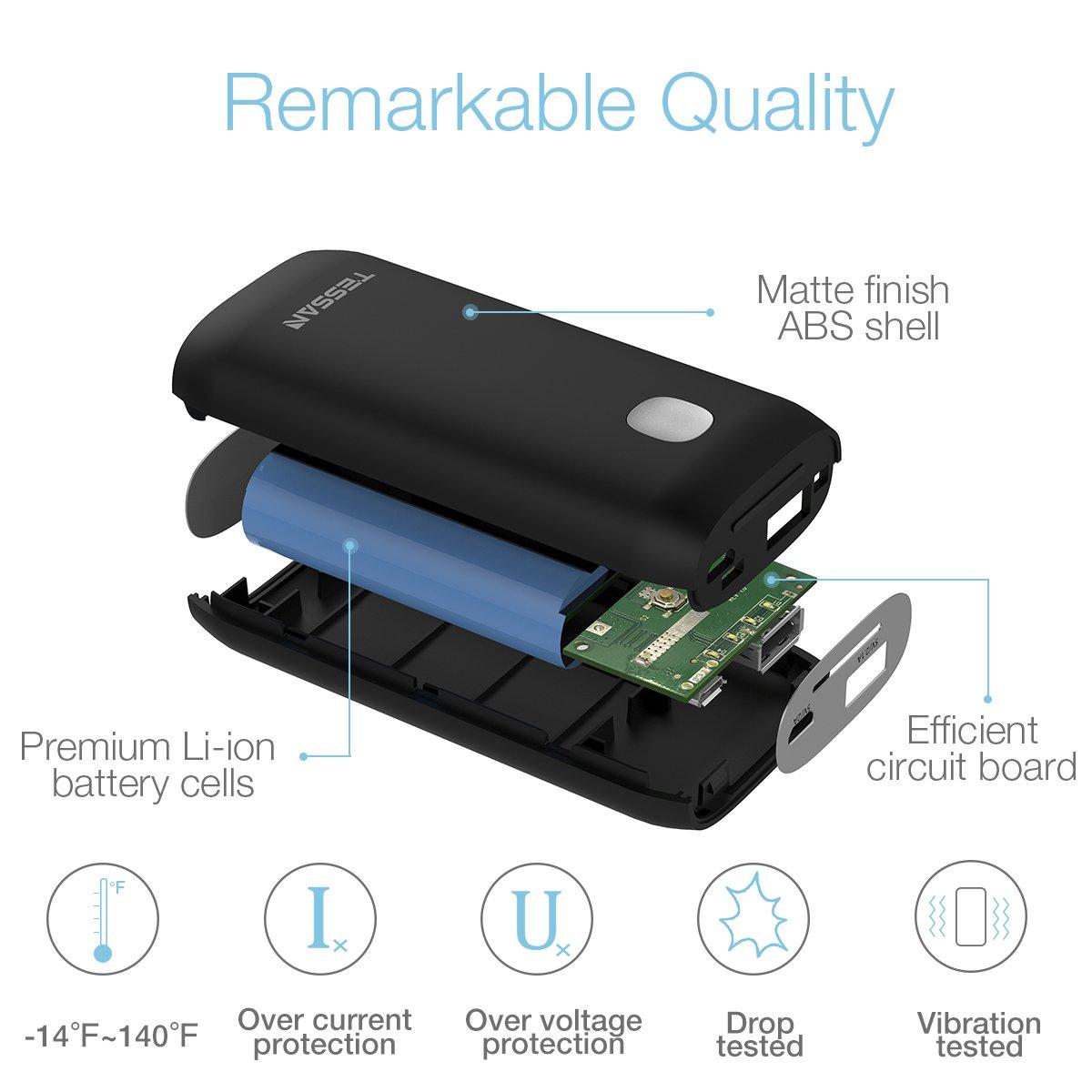 Externer Akku Power Bank Power Pack Ladegerät 5200mAh Tragbar Handy Ladegerät für iPhone X 8 8Plus 7 6s 6Plus, iPad, Samsung Galaxy und weitere Smartphones