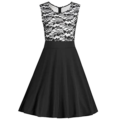 Ibaste Womens Dress Floral Lace Sleeveless Cocktail Party Dresses