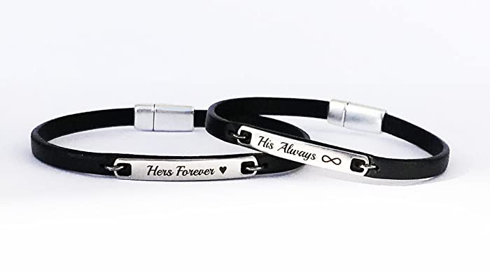 Amazon Com Always And Forever Couple Leather Bracelet His And Her