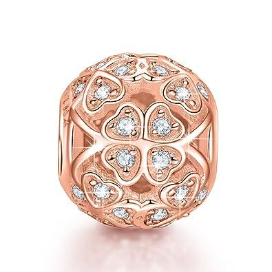 NinaQueen Trefle porte,bonheur Perle Charm pour femme argent 925 compatible  avec pandora charms bracelets