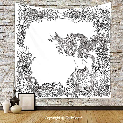 Tapestry Wall Hanging Mermaid in Artsy Seashells Starfish Coral Reef Frame Ancient Culture Myth Artwork Tapestries Dorm Living Room Bedroom(W59xL78) -