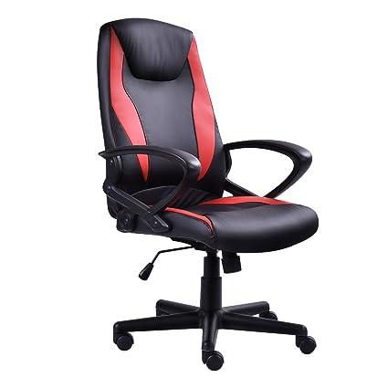 officelax Racing silla Gaming silla respaldo alto ejecutivo silla de oficina escritorio, color negro y