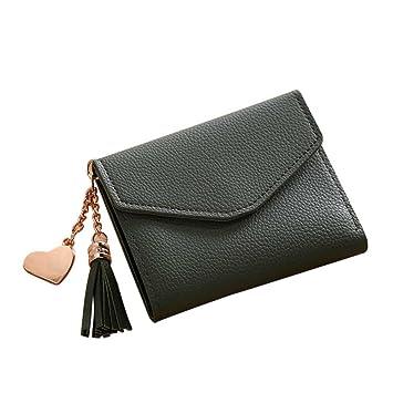 Amazon.com: Mujeres niñas corto tipo portafolios borla ...