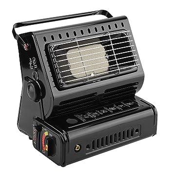 Calentador de Gas, Estufa Portátil, Estufa de Gas para Camping, Calentador de Gas Butano para Acampar y Al Aire Libre(Negro Doble Gas Individual): ...