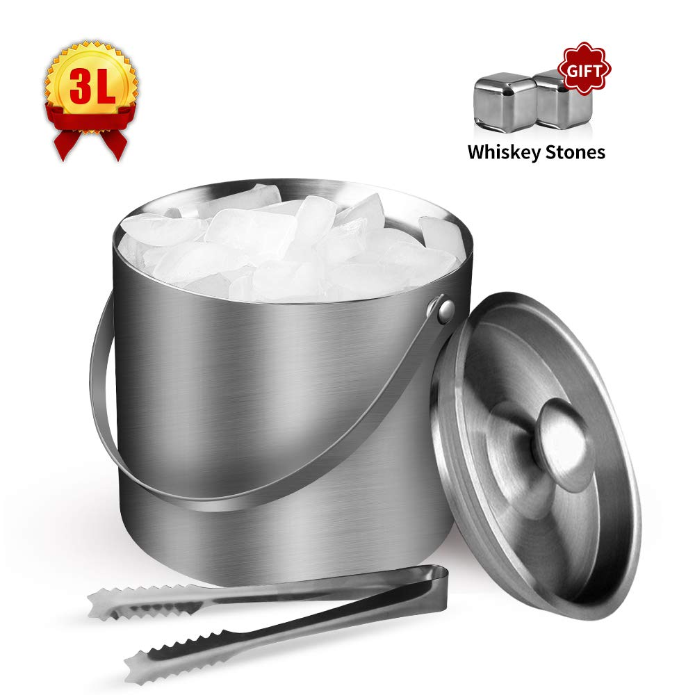 Ice Bucket, Insulated Stainless Steel Double Walled 3L Wine Bottle Chiller with Lid, Ice Bucket with Whiskey Stones and Tongs for Parties, Gatherings, Bar, Silver by NISONG