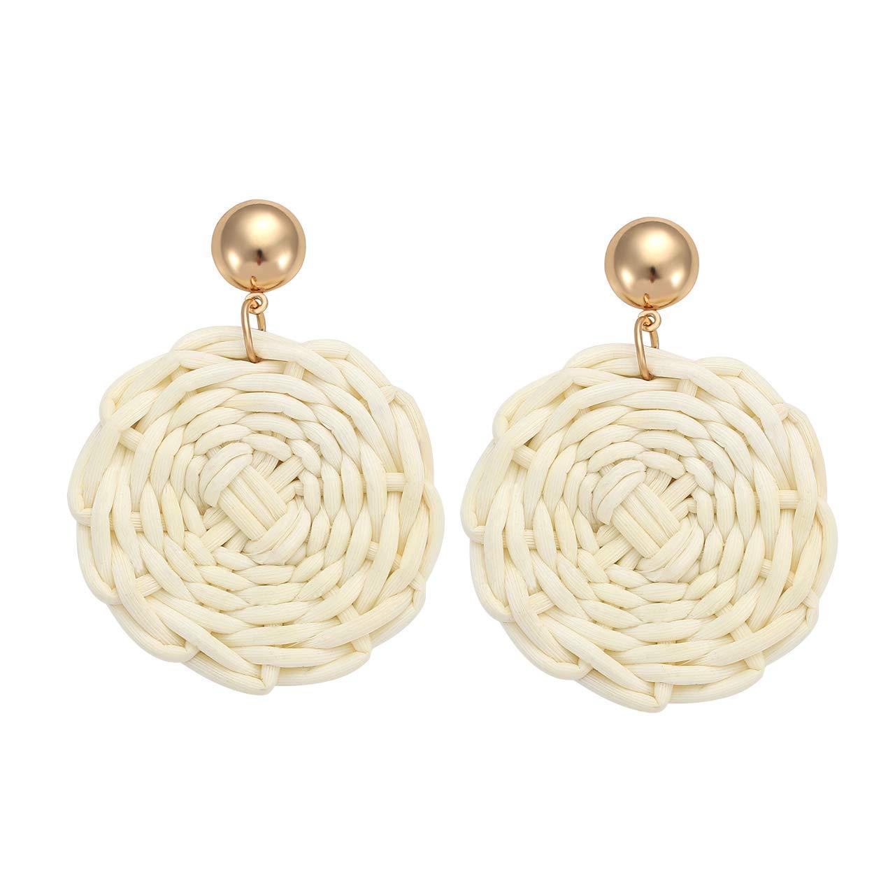 TIKCOOL Rattan Earrings for Women Straw Earrings Statement Geometric Dangle Drop Earrings Handmade Wicker Woven Hoop Earrings
