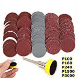CynKen 50pcs 25mm 1 Inch 1500-7000 Grit Sandpapers with Hook and Loop Backer Pad