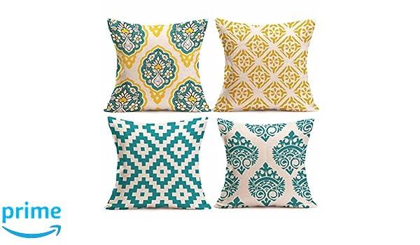 LONUPAZZ 4 pcs/Set Estampado Fundas de Almohada de Lino sofá Funda de cojín Décor de la casa 45 x 45, algodón, c, 45_x_45_cm