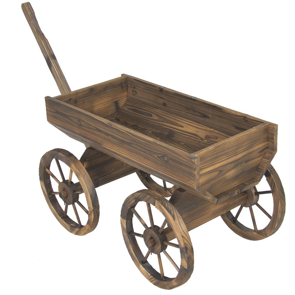 Amazon.com : Vintage Garden Wood Wagon Flower Planter Pot Stand With ...