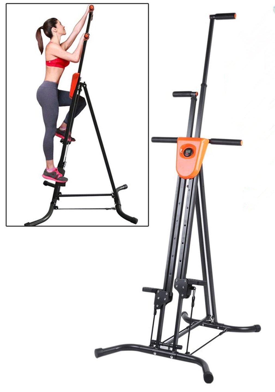 Graspwind Vertical Climber Climbing Machine Foldable LCD Display Full Body Workout Stepper Cardio Fitness Stepper Climber