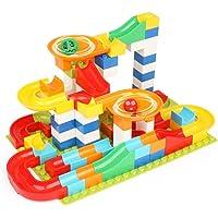 Marble Run Building Blocks Set Puzzle Race Track,Duplo Compatible,104Pcs