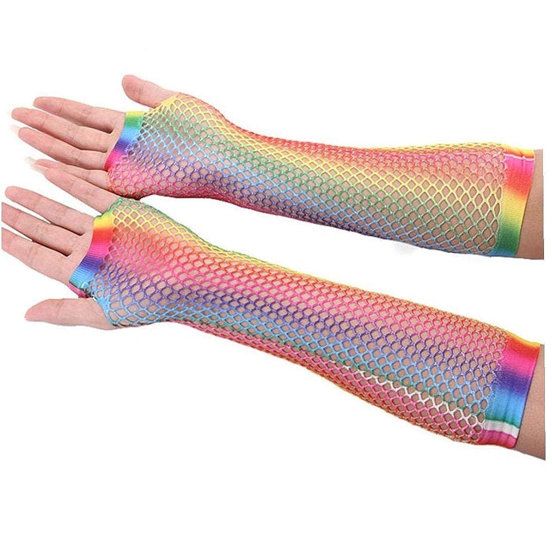 1 Paio Femmine Hollow I Fori Guanti Arcobaleno Stampato Senza Dita Mesh Gloves a Rete