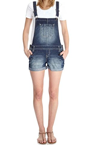 WallFlower Juniors Denim Shortalls in Brandy Size: Large