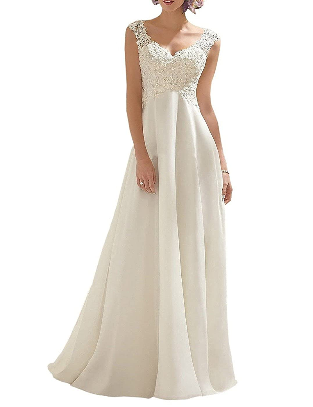 Borje Womens Double V-Neck Sleeveless Lace Wedding Dress Evening Dress