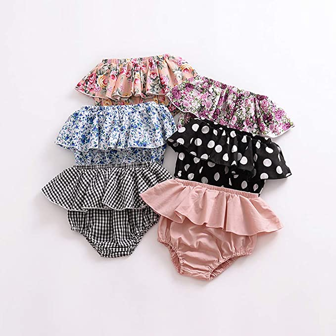E Red+Pink+Yellow, 6-12 Months 3PC Shorts Set Newborn Baby Girls Boys PP Pants Cotton Linen Blend Cute Floral Bloomers Triangle Shorts