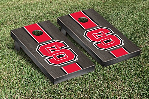NORTH CAROLINA NC STATE WOLFPACK CORNHOLE GAME SET ONYX STAINED STRIPE WOODEN (Wolfpack Games)