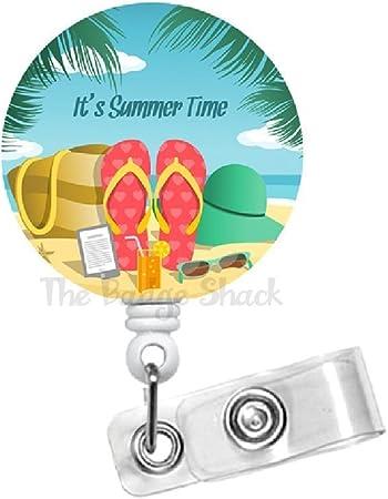 Flip Flops Badge Reel Sun Badge Reel Retractable ID Badge Holder Set of 1 Vacation Badge Reel Summer Badge Reel Nurse Badge Reel