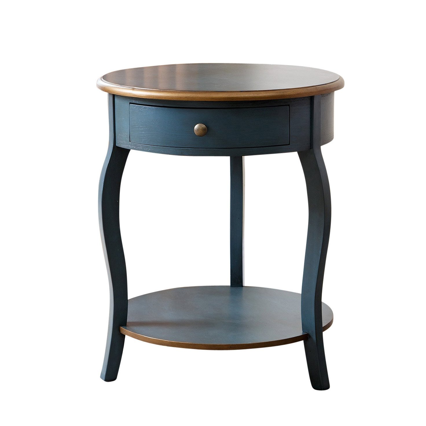 Abbyson Julianne 1 Drawer Round Wood End Table, Rustic Teal & Gold