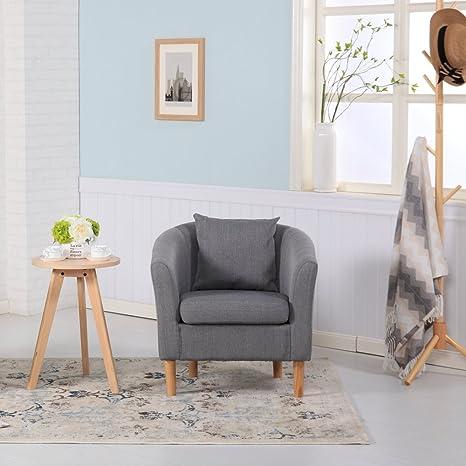 Poltrona in tessuto di lino di alta qualità per soggiorno, ufficio,  reception 73W x 65D x 72H cm Dark Grey