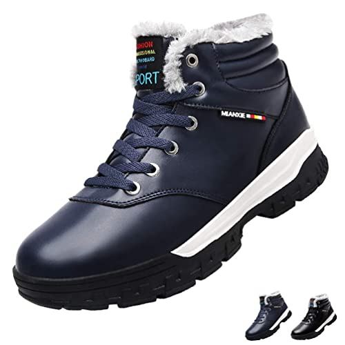 1bc90c6d6d JOYMI Snow Boots Mens Winter Fur Lined Warm Leather Bootie High Top Lace Up  Sneaker,