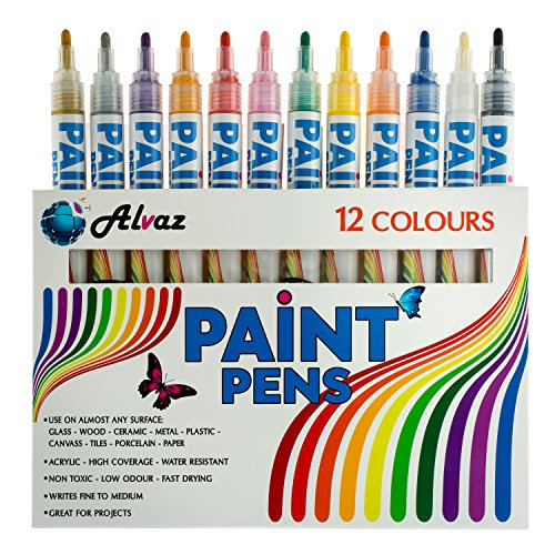 Alvaz Paint PENS,12 Vibrant Colors, FINE Point to Medium Point, Water Based Acrylic, Writes ON All Surfaces, Low Odor, Fast Drying, Non Toxic, Best Choice of Paint Marker PENS for Arts & Craft