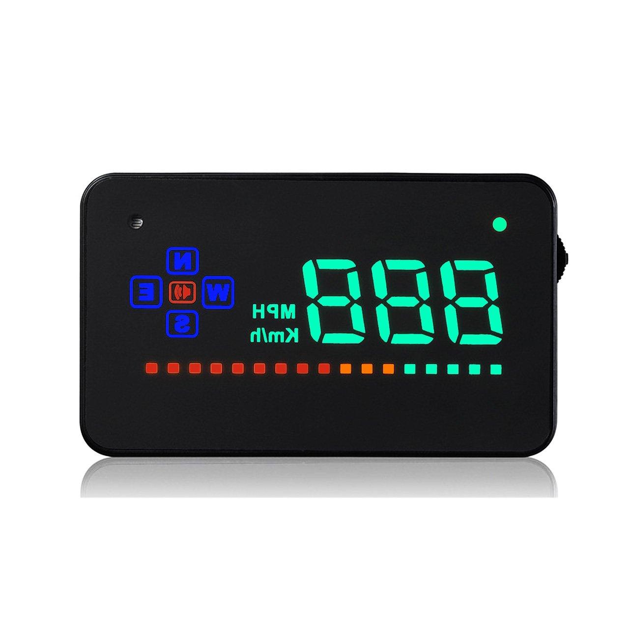 ACBungji HUD Auto 3.5 Pouces Head Up Display Simple et Clair Tacho Compteur de Vitesse KM//h MPH Vitesse de Rotation Alarme Voltm/ètre