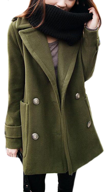 WANSHIYISHE Women Elegant Winter British Style Overcoat Woolen Coat