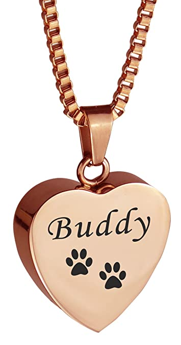 e51c83d3bf97 Amazon.com: Personalized Pet Cat Dog Paw Print Rose Gold Heart Urn Pendant  Necklace Memorial Ash Cremation Jewelry: Jewelry