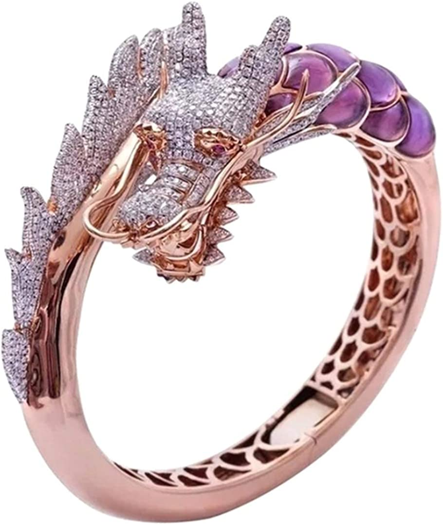 arret Middleton - Anillo de oro rosa de 14 quilates con piedra natural para boda, regalo de cumpleaños, diseño de dragón hip hop, talla 5-10 (Ninguno 6 GD)