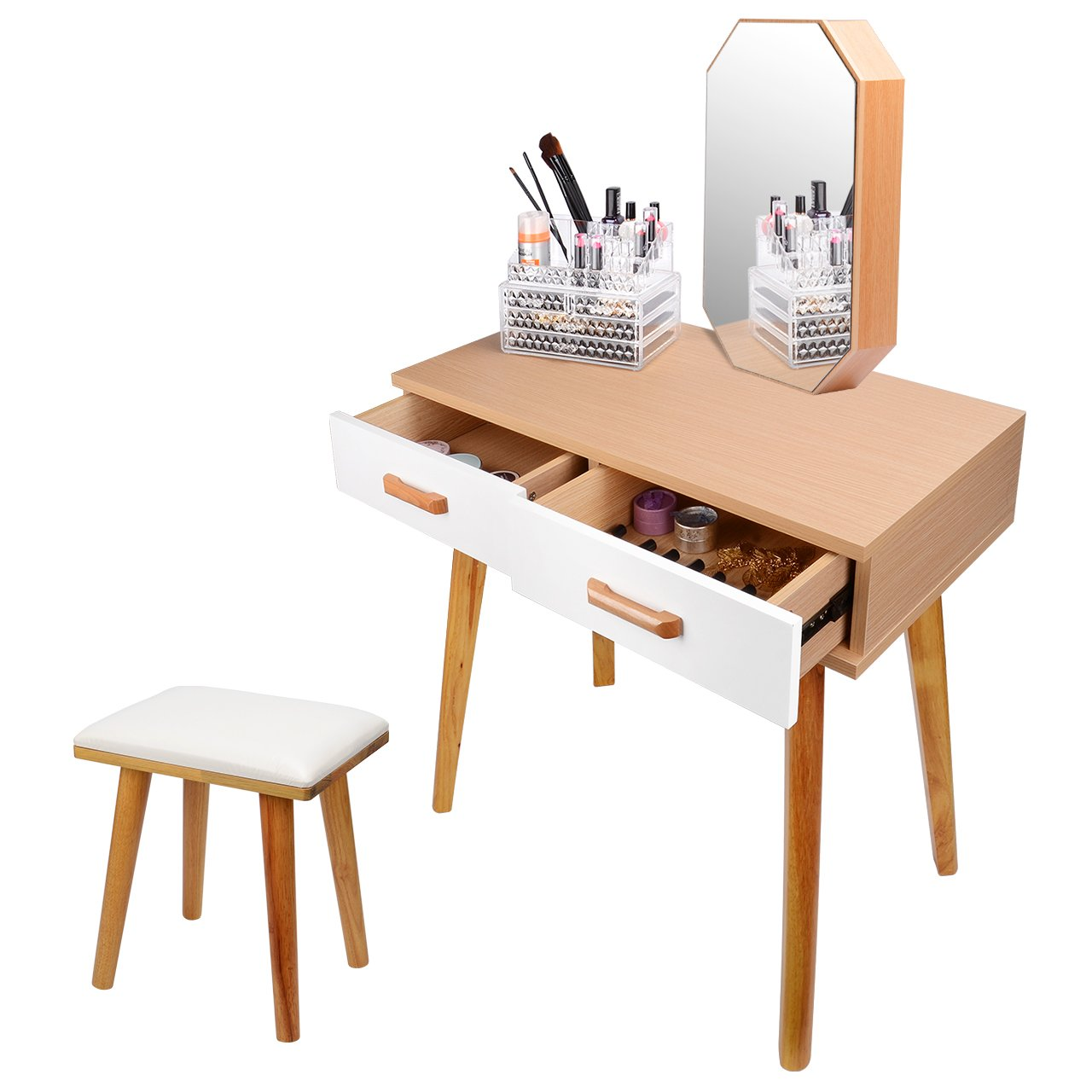 SortWise Vanity Table Set with with Mirror & Cushioned Stool, Dressing Table Vanity Makeup Table 2 Large Sliding Drawers, Removable Cosmetic Cabinet Organizer for Jewerly/Nail Polishes/Lipsticks, Wooden Furniture Bedroom