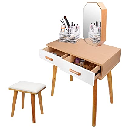Genial SortWise Vanity Table Set With With Mirror U0026 Cushioned Stool, Dressing Table  Vanity Makeup Table