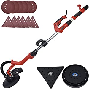Drywall Sander - 6.5A Dual-Head Automatic Vacuum System, Variable Speed 1200-2500 RPM/12 Sanding Discs/Extendable Hand/Long Dust Hose Electric Drywall Sander